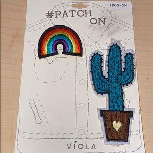 Steve Madden iron on rainbow & cactus patch
